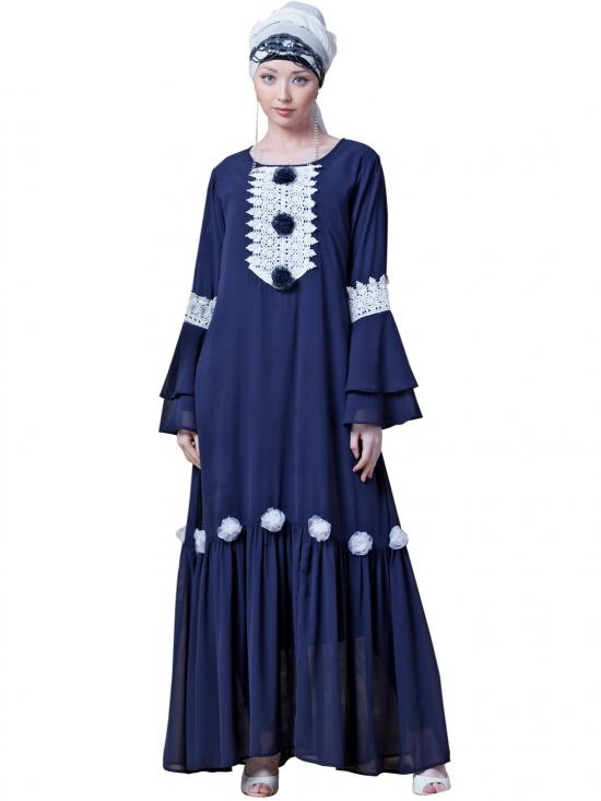 Georgette Bell Sleeve Flowers With Around Knee Party Abaya In Navy
