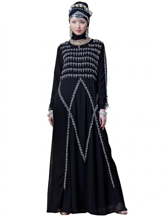 Georgette Hand Embroidered Party Abaya In Black