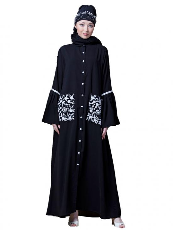 Crepe Embroidered Pocket With Bell Sleeve Casual Abaya In Black