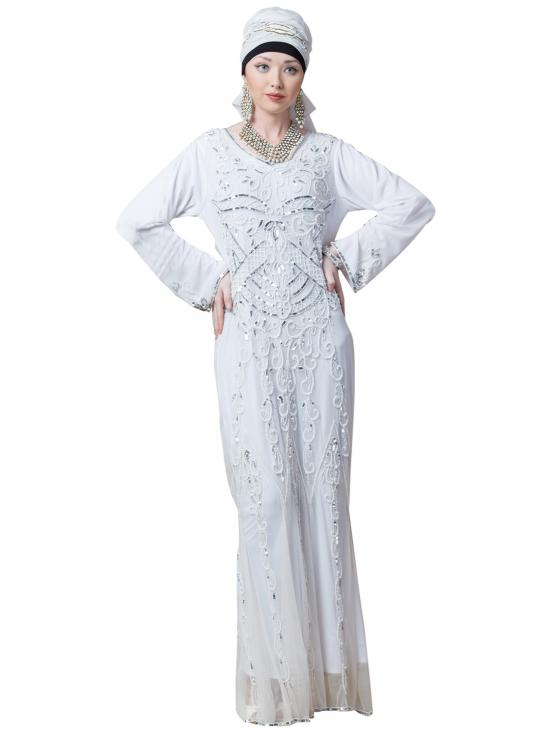 Net Full Hand embroidered Wedding Abaya In White