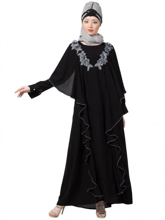 Crepe Front Long Frill With Contrast Flowers Party Abaya In Black And Grey