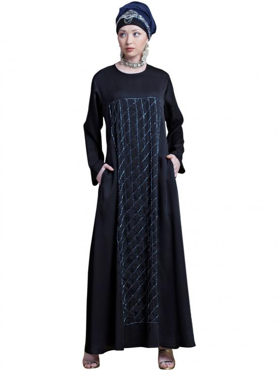 Satin Diamond Motif With Hand Embroidered Flare Abaya In Black