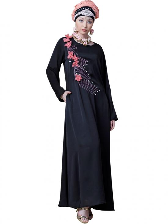 Satin Applique Flowers And Hand Work Party Abaya In Black