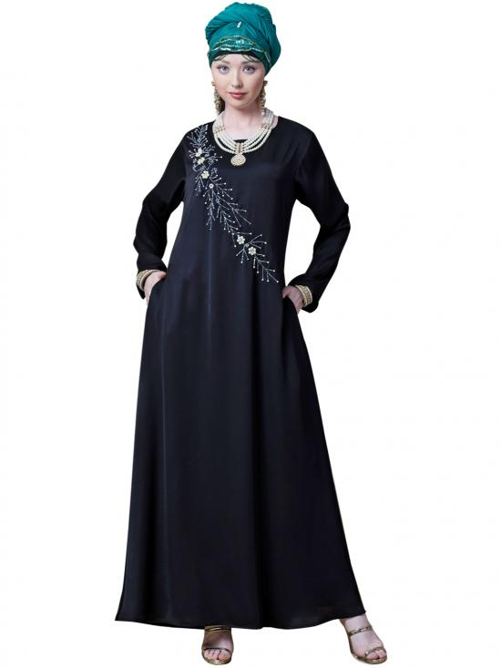Satin Hand Embroidered Flare Abaya In Black