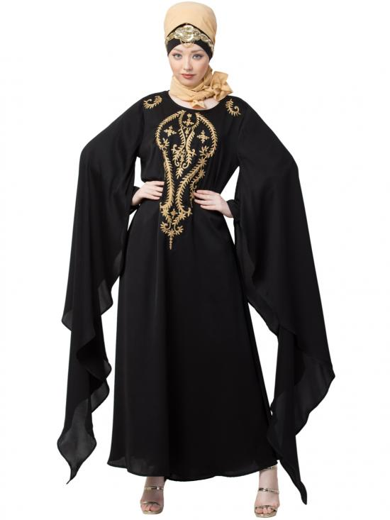 Satin Extra Long Wings Sleeve With Embroidered Party Abaya In Black And Golden