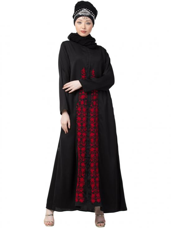 Satin Front Embroidered And Zip At Neck Abaya In Black And Red