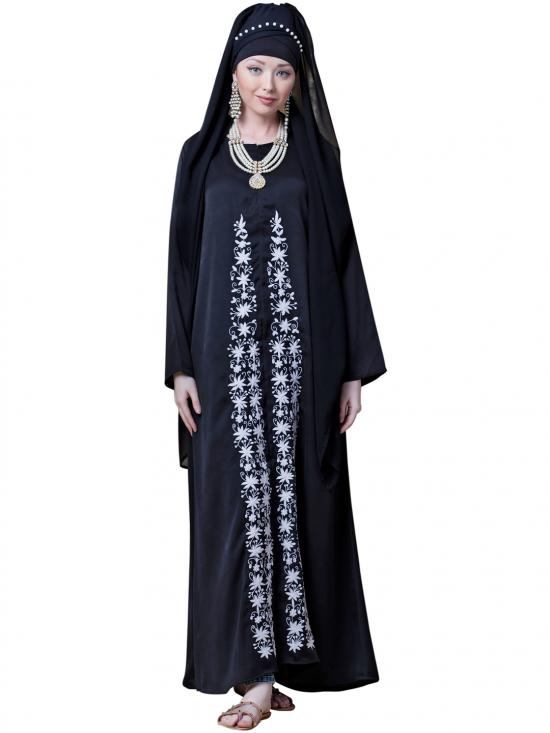 Satin Front Embroidered And Zip At Neck Abaya In Black And White