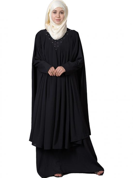 Polyster Embroidered Double Layer Party Abaya in Black
