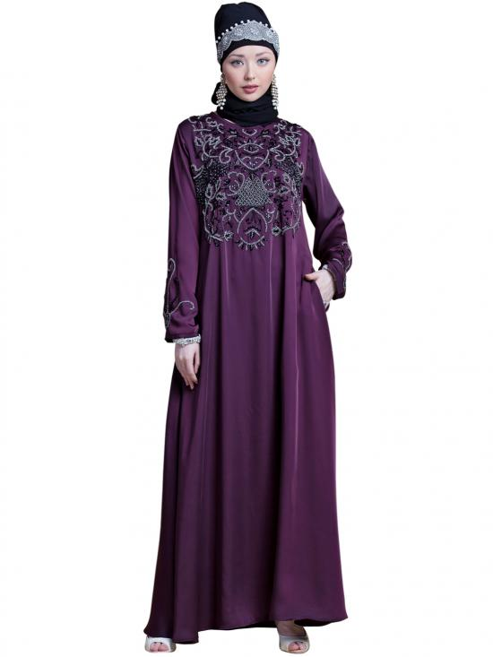 Satin Front And Sleeve With Hand Embroidered Party Abaya In Wine