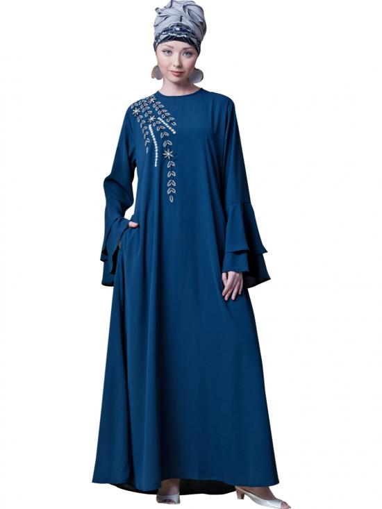 Crepe Hand work And Party Abaya In Teal