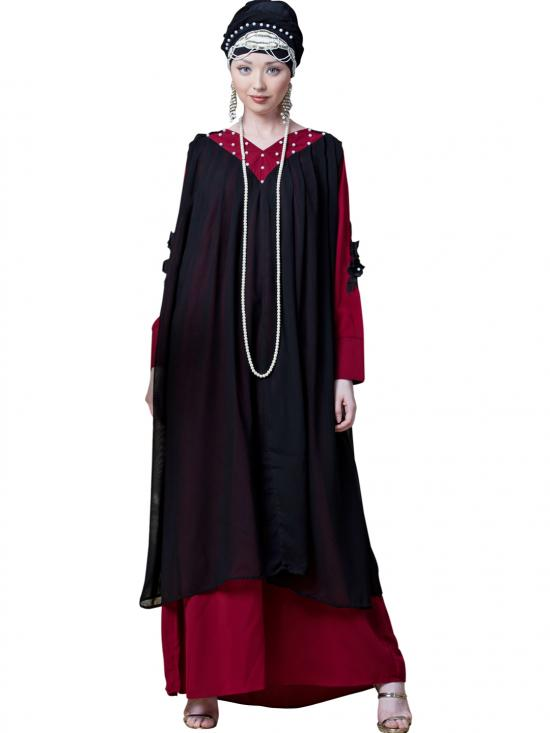 Georgette Embroidered Double Layer Party Abaya In Black And Red