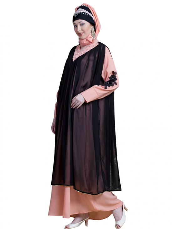 Georgette Embroidered Double Layer Party Abaya In Black And Peach