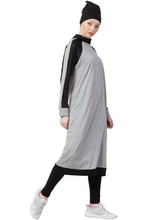 100% Cotton Contrast Sports Abaya With Legging In Grey And Black