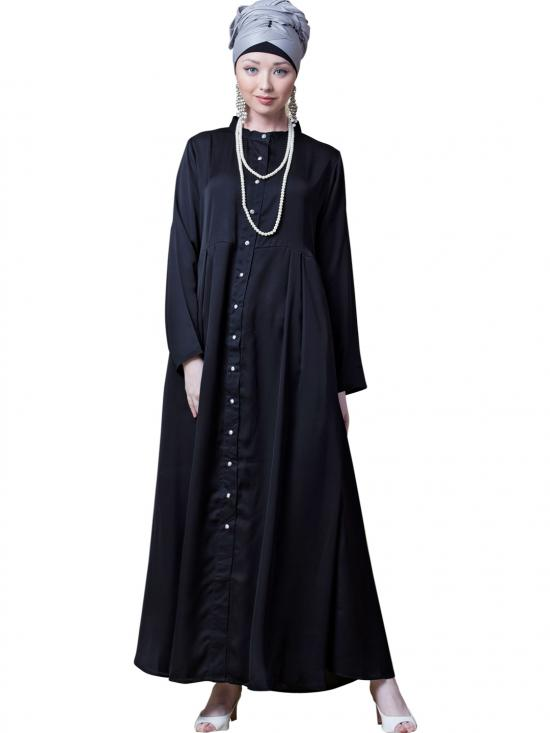 Satin Front Open With Pleats From Waist Casual Abaya In Black