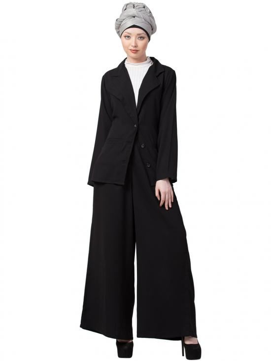 Crepe Executive Two Pc Contemporary Coat Pant Cum Abaya In Black