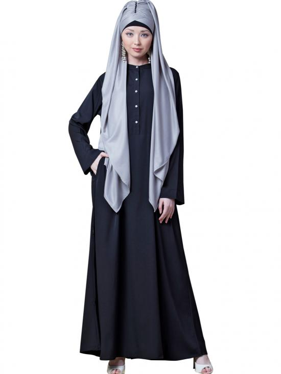 Crepe Front Open Abaya In Black