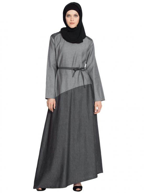 100% Cotton Asymmetrical Contrast Skirt Casual Abaya In SG And Black