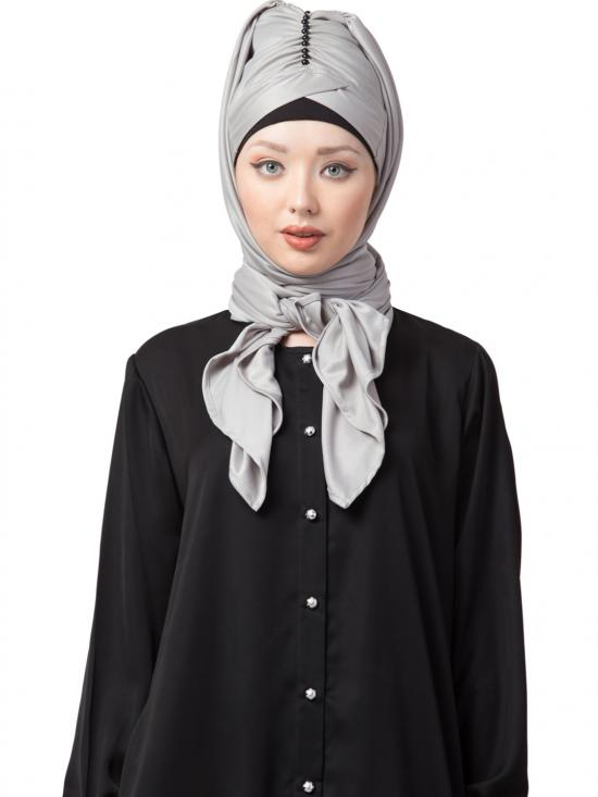 Polyster Turban With Attached Hijab In Silver Grey