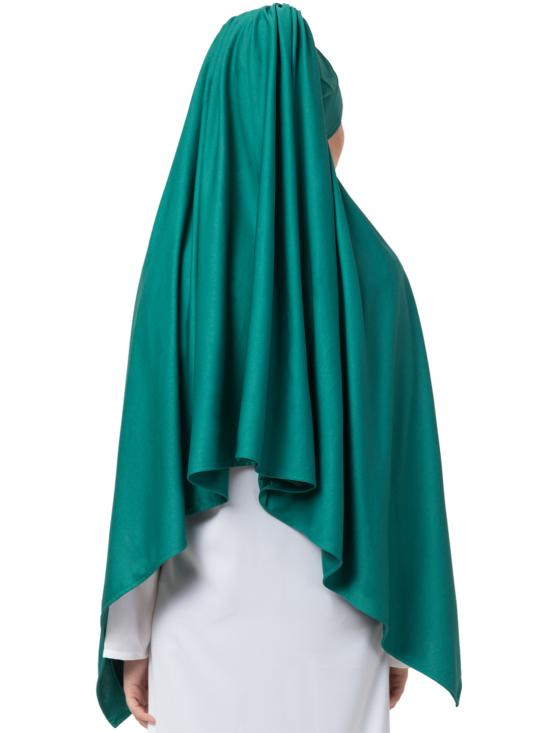 Polyester Turban With Attached Hijab In Green