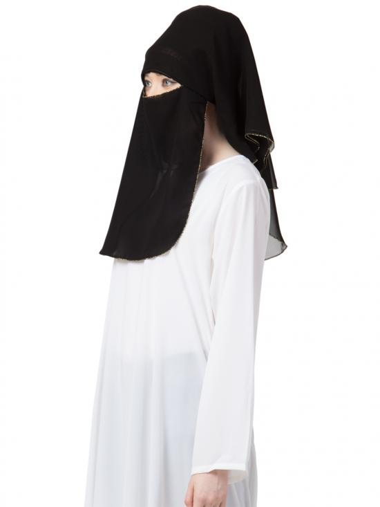 Georgette 3 Layer Naqab In Black And Golden