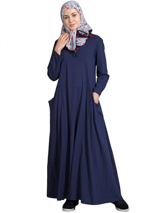 100% Cotton Jersey Travel Abaya In Navy