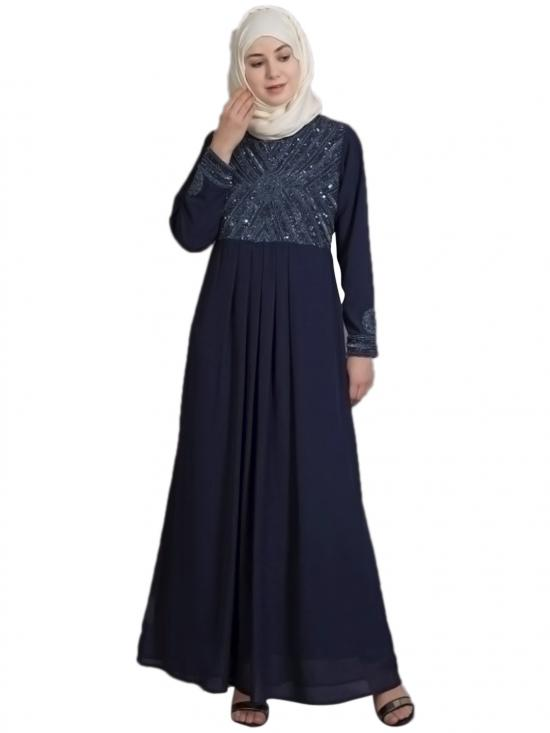 Poly Georgette Embellished Party Burqown In Navy And Gunmetal