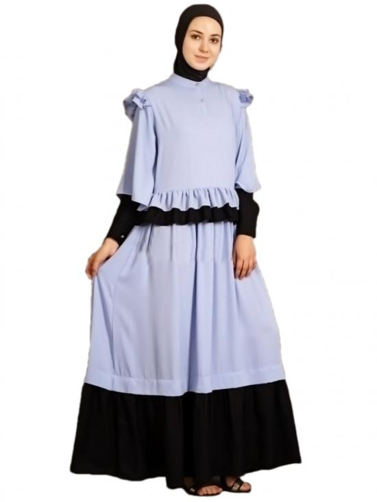 100% Polyester Crepe Contrast Frilled Funky Abaya In Sky Blue And Black