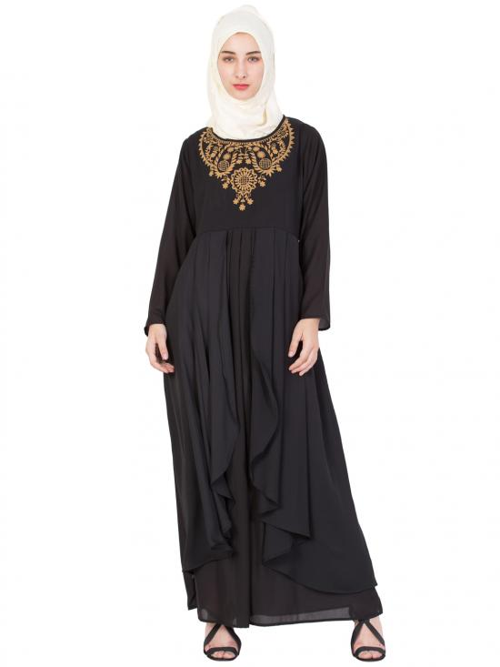 Polyster Crepe Embroidered Abaya In Black And Gold