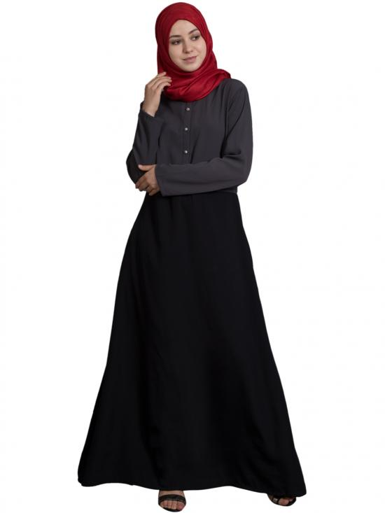 100% Polyester Crepe Contrast Body Daily Wear Abaya In Grey And Black