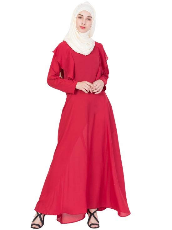 100% Polyester Crepe Frill Casual Abaya In Red