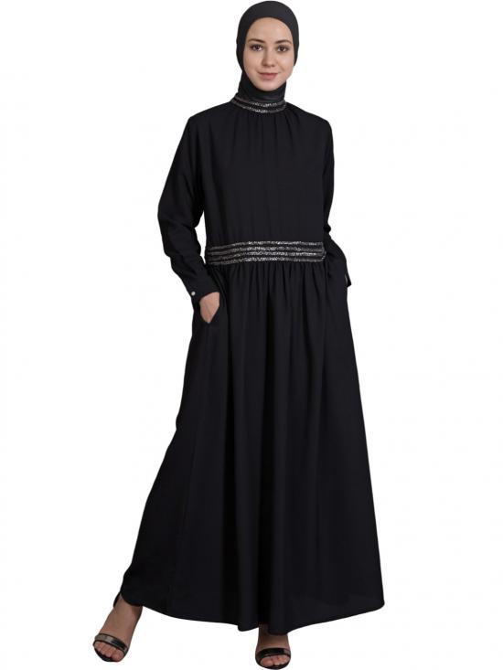 100% Polyester Crepe Embellished Classic Abaya In Black And Mercury