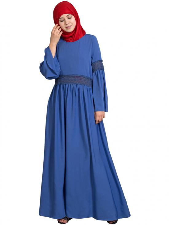 100% Polyester Crepe Lace At Waist And Sleeve Classic Abaya In Electric Blue