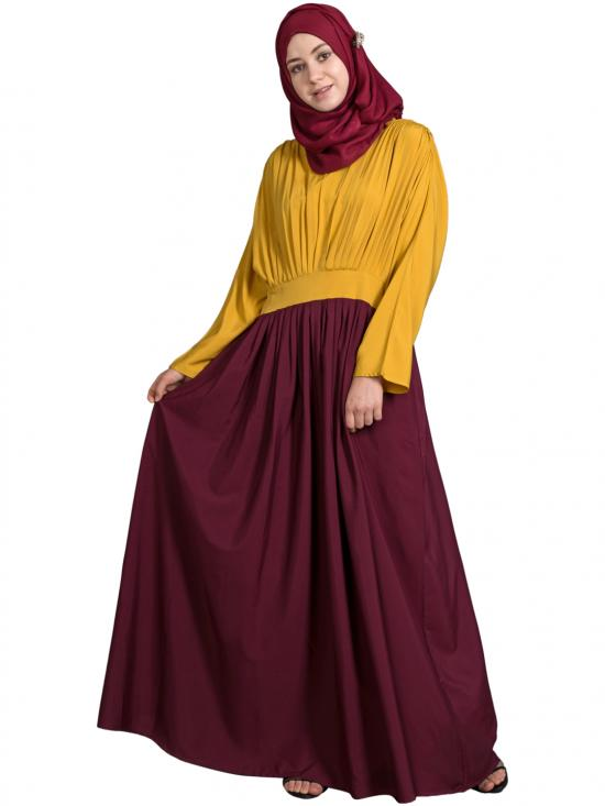 100% Polyester Crepe Pleated Contrast Casual Chic Abaya In Maroon And Mustard
