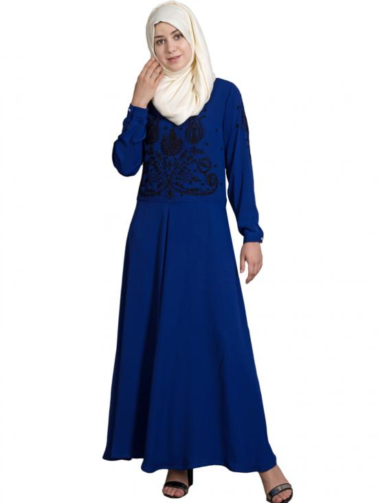 100% Polyester Crepe Embroidered Party Abaya In Royal Blue And Black