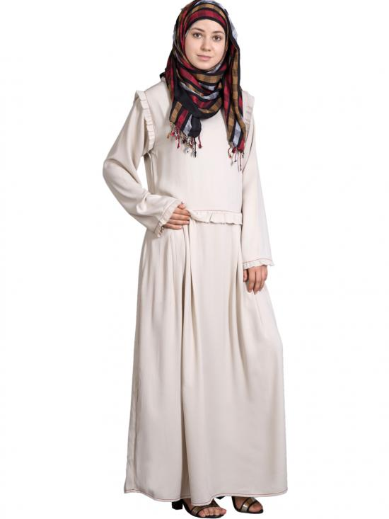 Heather Moss Raw/Frayed Edge Funky Abaya With Pleats At Waist In Ivory
