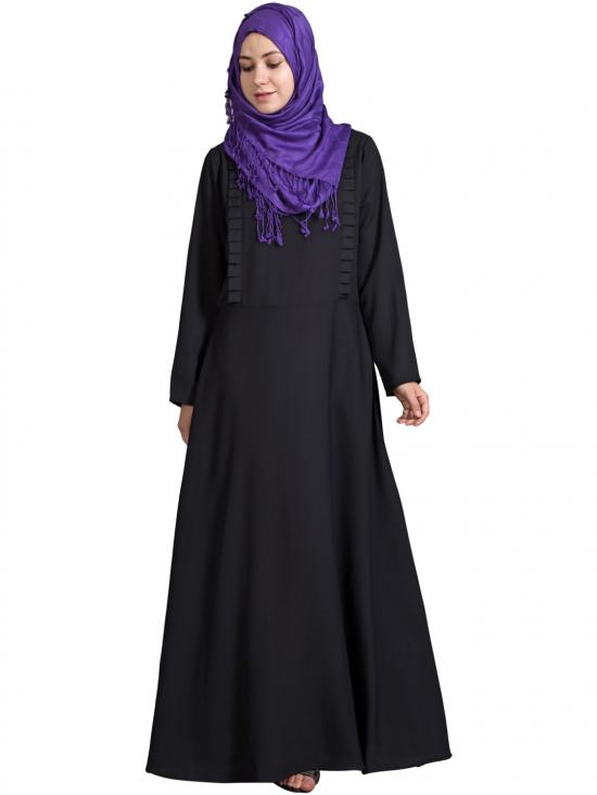 100% Polyester Crepe Frill Casual Abaya In Black