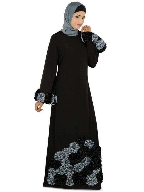 Polyster Salma Heavy Embroidered Party Abaya In Black