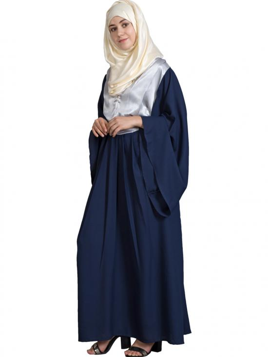 Bohemian 100% Polyester Crepe Contrast Yoke Bell Sleeve Abaya In Silver And Navy