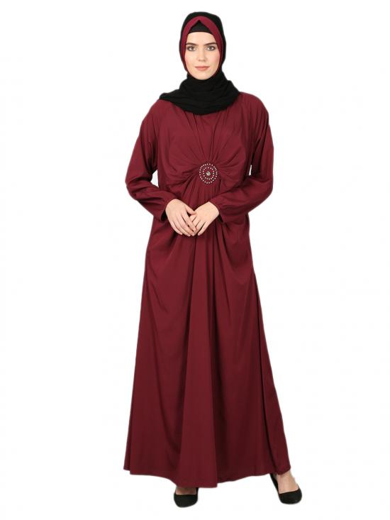 100% Polyester Crepe Circle Pleated Abaya In Maroon