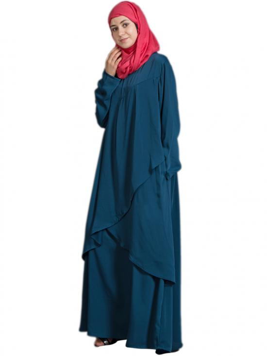 100% Polyester Crepe Overlapped Panel Casual Abaya In Teal