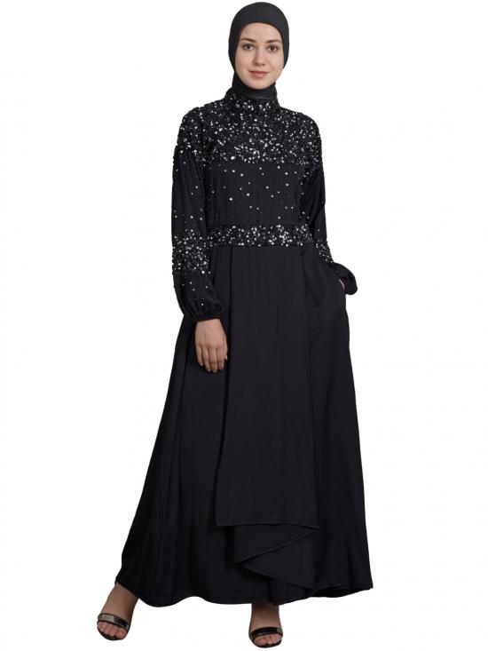 100% Polyester Crepe Embellished Burqown In Black
