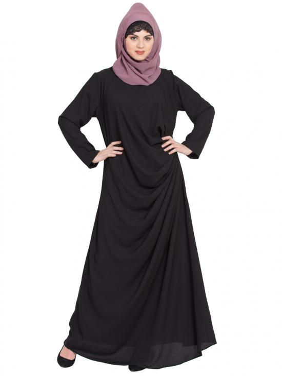 100% Polyester Crepe Pleating At Waist Casual Abaya In Black