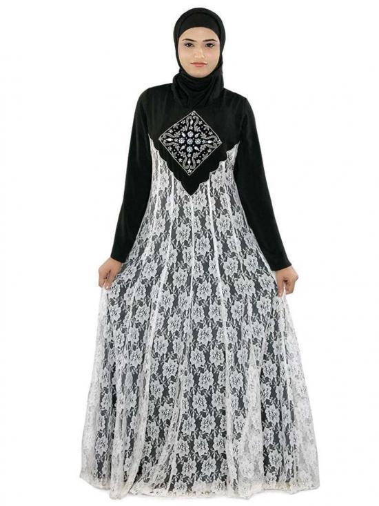 Polyster Shaista Abaya In Black & White