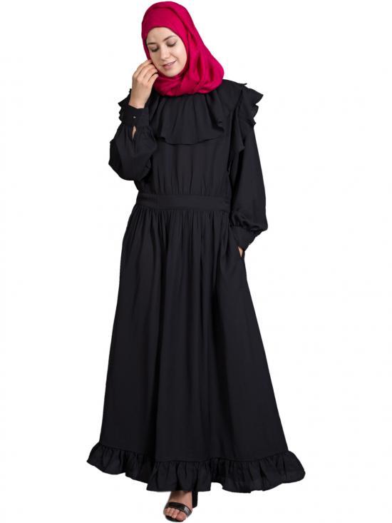 100% Polyester Crepe Frilled Trendy Bohemian Abaya In Black