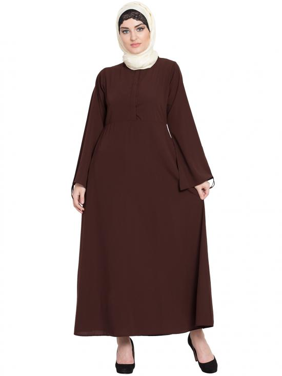 100% Polyester Crepe Front Placket Till Waist Casual Abaya In Brown