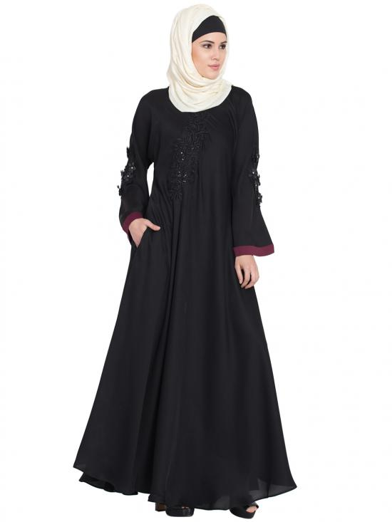 100% Polyester Satin Embroidered Patch Umbrella Abaya in Black