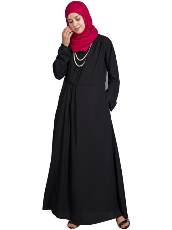 100% Polyester Crepe Asymmetrical Pleated Casual Abaya In Black