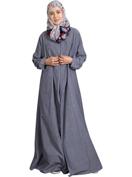 100% Cotton Chambray Executive Wrap Around Coat Abaya In Blue Denim