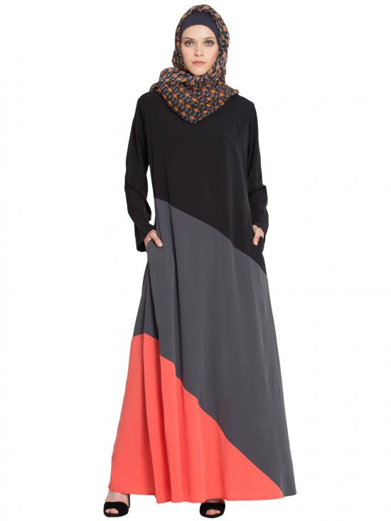 100% Polyester Crape Asymmetrical Panels Abaya In Black, Grey And Orange