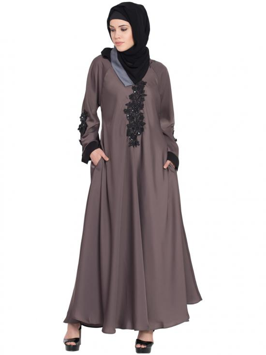 100% Polyester Satin Embroidered Patch Umbrella Abaya In Coffee Brown